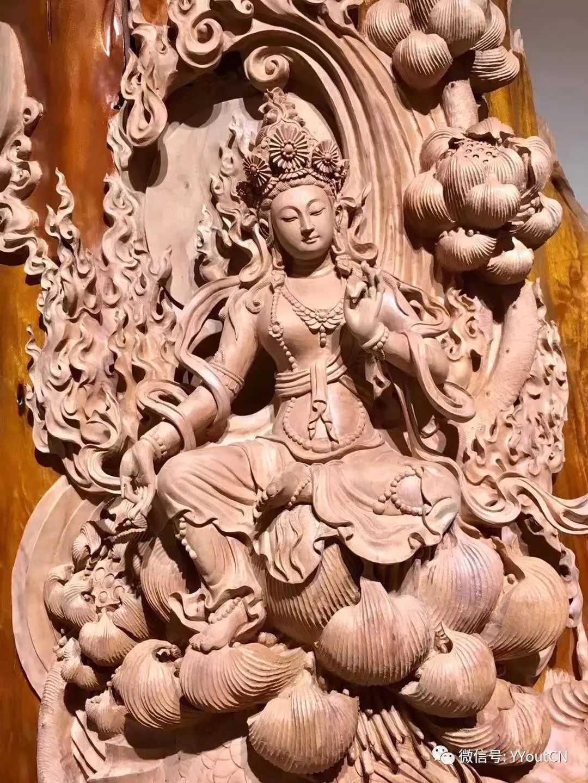 馆藏级中国纯手工金丝楠木雕神作《观音》大师精工